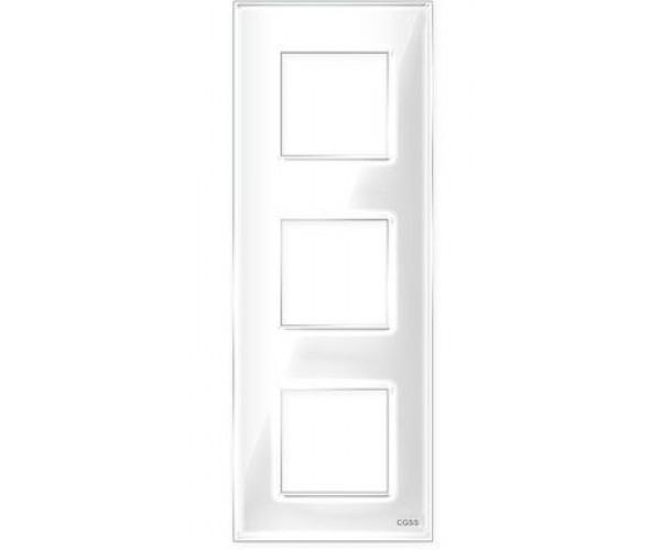 """Рамка на 3 поста вертикальная стеклянная белая """"Эстетика"""""""
