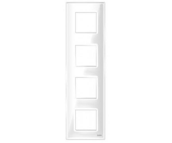 """Рамка на 4 поста вертикальная стеклянная белая """"Эстетика"""""""