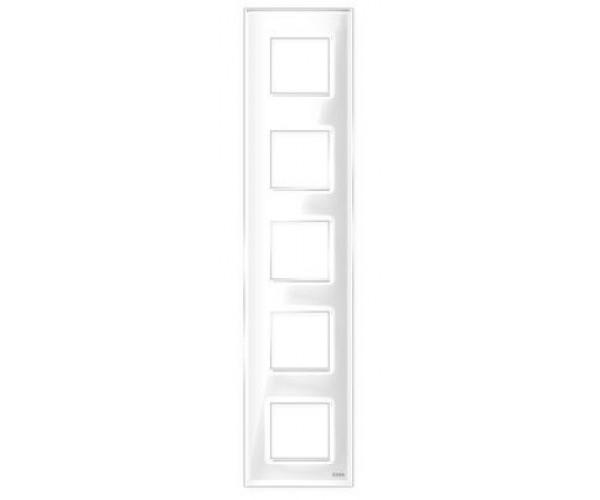 """Рамка на 5 постов вертикальная стеклянная белая """"Эстетика"""""""