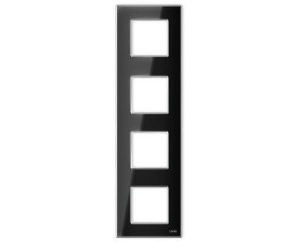 """Рамка на 4 поста вертикальная стеклянная черная """"Эстетика"""""""