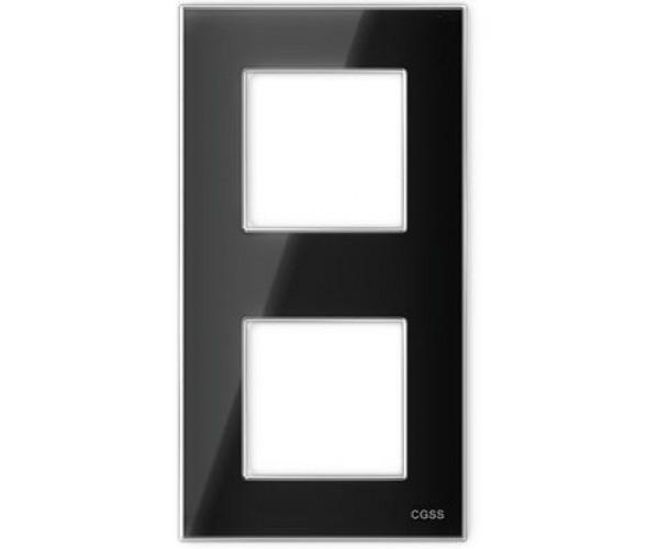 """Рамка на 2 поста вертикальная стеклянная черная """"Эстетика"""""""