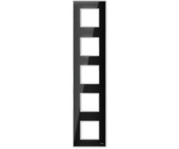 """Рамка на 5 постов вертикальная стеклянная  черная """"Эстетика"""""""