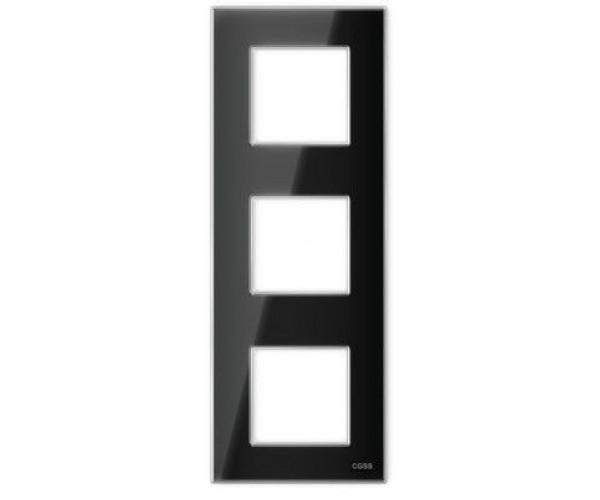 """Рамка на 3 поста вертикальная стеклянная черная """"Эстетика"""""""