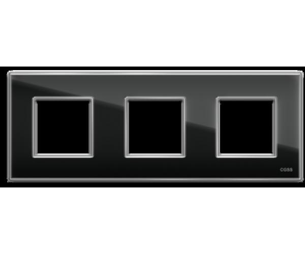 "Рамка на 3 поста стеклянная черная ""Эстетика"""
