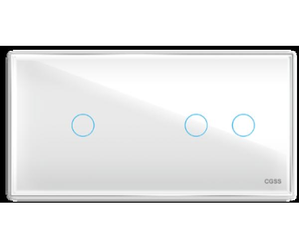 Трехлинейная панель стеклянная белая на два поста 1+2 CGSS WT-P03LW