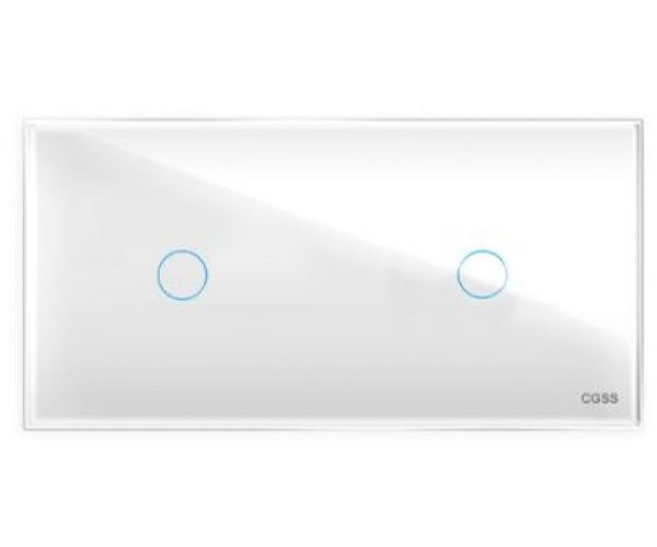 Двухлинейная панель стеклянная белая на два поста 1+1 CGSS WT-P01+1W