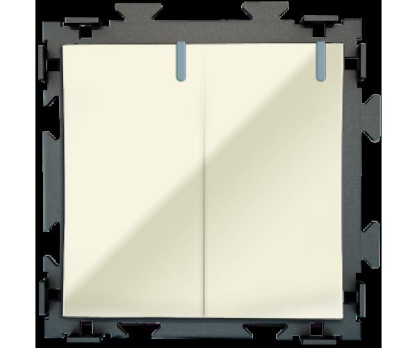 Двухклавишный бежевый выключатель CGSS «Практика»