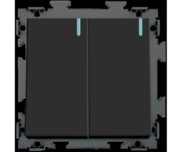 Двухклавишный переключатель проходной черный матовый CGSS «Практика»