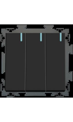 Трехклавишный выключатель черный матовый CGSS «Практика»