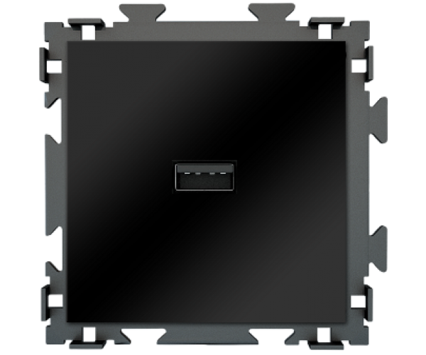 "Розетка USB черная матовая CGSS ""Практика"""