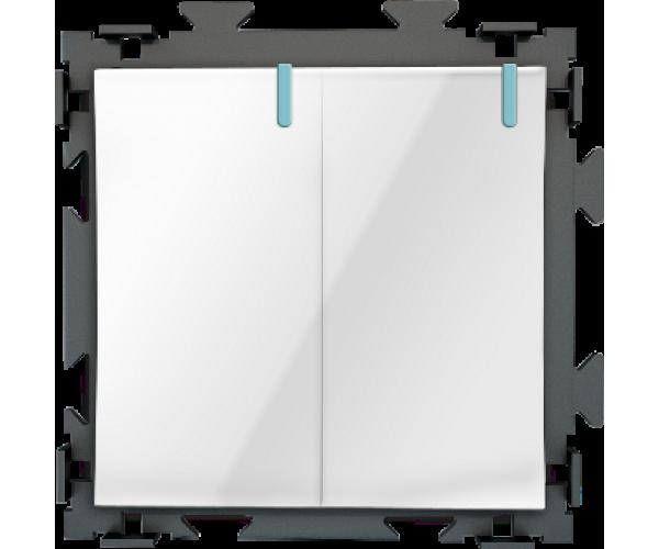 Двухклавишный белый выключатель CGSS «Практика»