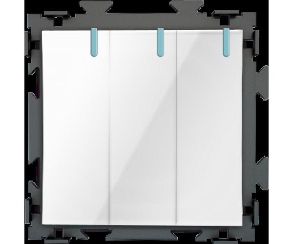Трехклавишный белый выключатель CGSS «Практика»