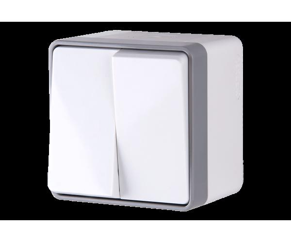 Выключатель двухклавишный влагозащищенный Gallant (белый) WL15-03-02