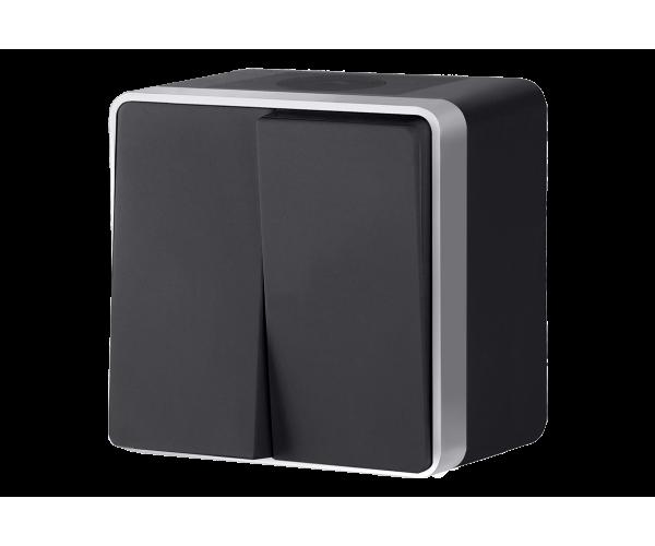 Выключатель двухклавишный влагозащищенный Gallant (черный с серебром) WL15-03-02