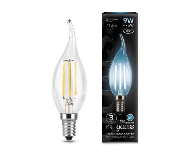 Лампа светодиодная филаментная свеча на ветру прозрачная E14 9W 4100К