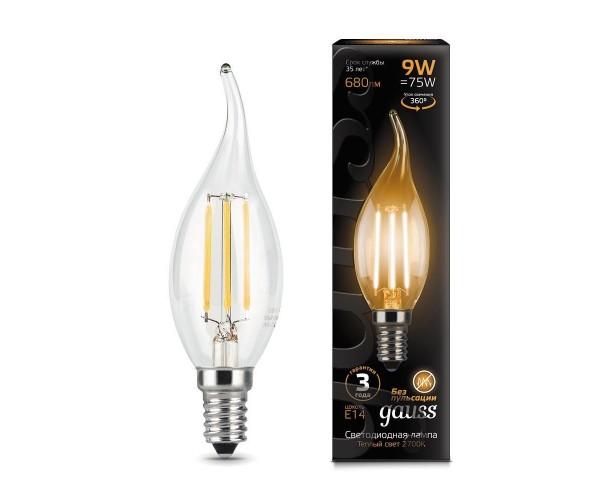 Лампа светодиодная филаментная свеча на ветру прозрачная E14 9W 2700К