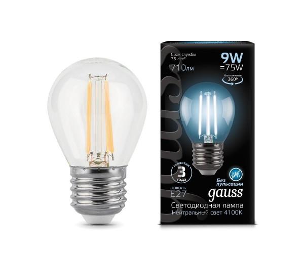 Лампа светодиодная филаментная шар прозрачный E27 9W 4100К