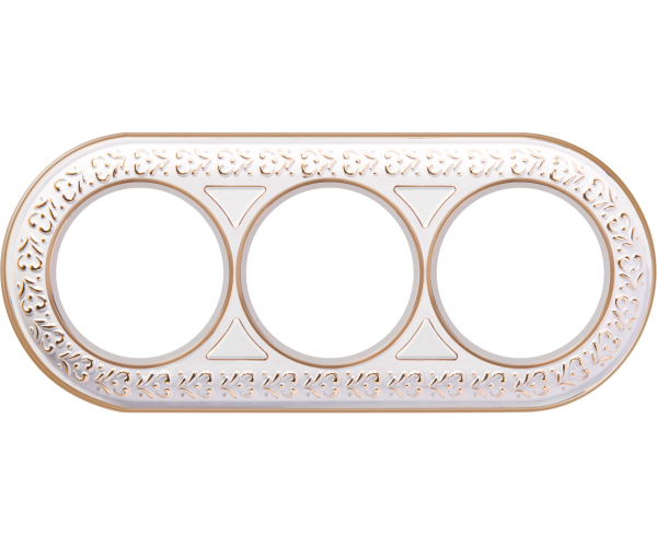 Рамка на 3 поста (белое золото) WL70-frame-03