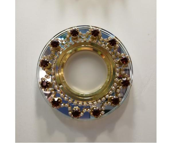 Светильник точечный  стекло Круг с  янтарными стразами  DL1660