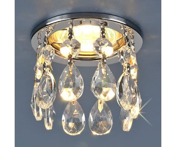 Светильник точечный с хрусталем хром / прозрачный хрусталь 2055