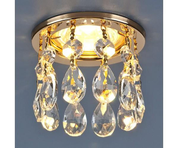 Светильник точечный с хрусталем  золото/прозрачный 2055