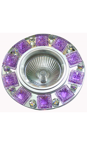 Светильник  точечный FT 501зеркальный + сиреневые кристаллы