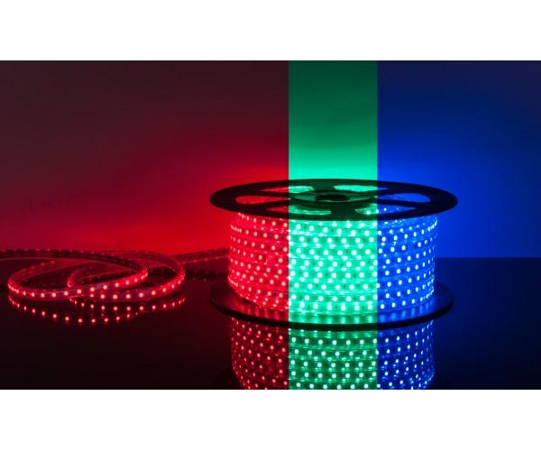 Лента светодиодная Ecola 220 v 14.4 вт RGB ( многоцветная )  IP68 60 LED yf 1 м.