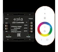 Сенсорный контроллер с ПДУ для светодиодной лентыEcola RGB   24A 288W 12V (576W 24V) с кольцевым сенсором белым радиопультом
