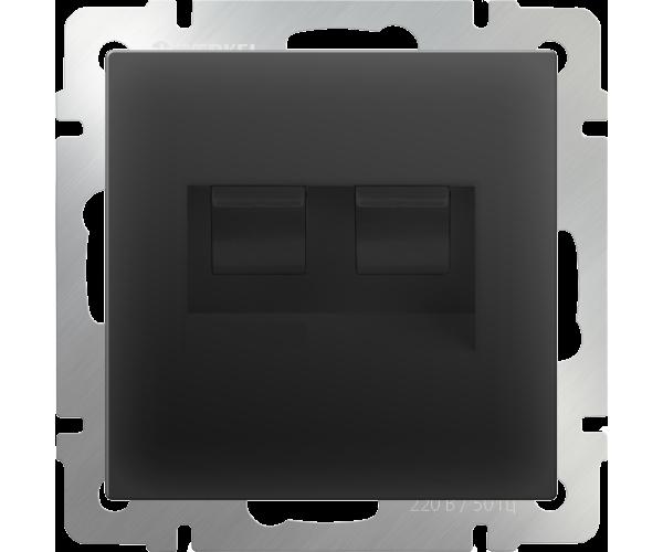 Розетка двойная Ethernet RJ-45 (черный матовый) WL08-RJ45+RJ45