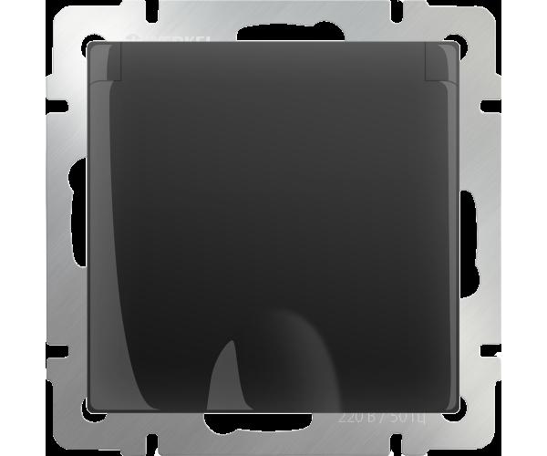 Розетка влаг. с зазем. с защит. крыш и штор (черный матовый) WL08-SKGSC-01-IP44