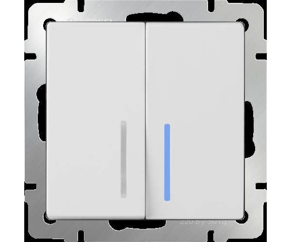 Выключатель двухклавишный проходной с подсветкой (белый) WL01-SW-2G-2W-LED