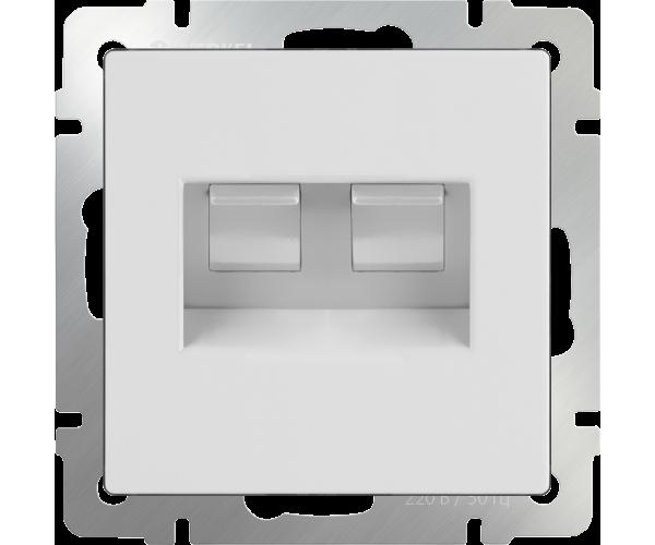 Розетка двойная Ethernet (белая) RJ-45 WL01-RJ45+RJ45