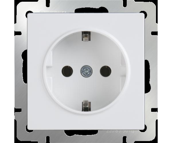 Розетка с заземлением (белая) WL01-SKG-01-IP20