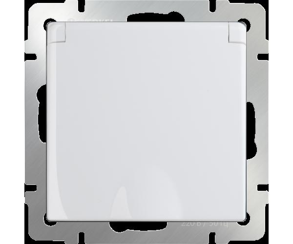 Розетка влагозащищенная с заземлением с защитной крышкой и шторками (белая) WL01-SKGSC-01-IP44