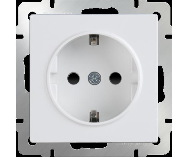 Розетка влагозащищенная с заземлением и шторками (белая) WL01-SKGS-01-IP44