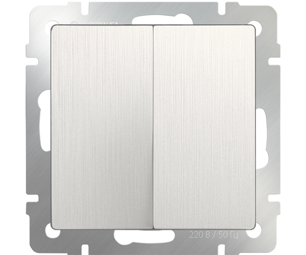 Выключатель двухклавишный (перламутровый рифленый) WL13-SW-2G