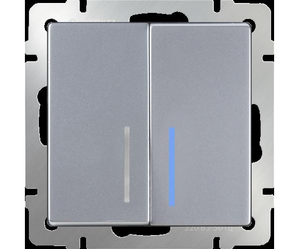 Выключатель двухклавишный проходной с подсветкой (серебряный) WL06-SW-2G-2W-LED