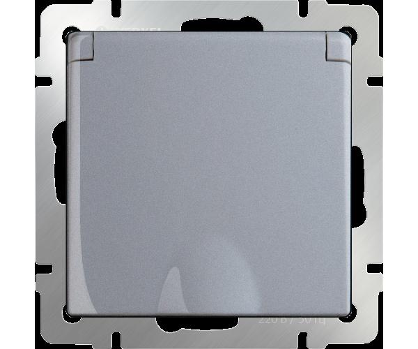 Розетка влаг. с зазем. с защит. крыш и штор (серебряный) WL06-SKGSC-01-IP44