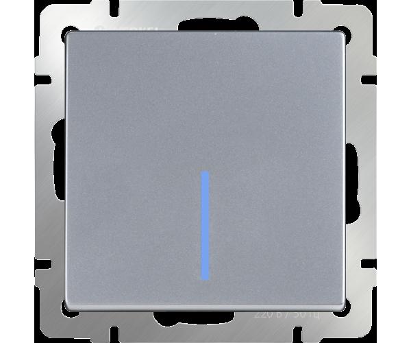 Выключатель одноклавишный проходной с подсветкой (серебряный) WL06-SW-1G-2W-LED