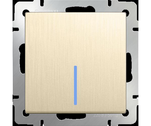 Выключатель одноклавишный проходной с подсветкой (шампань рифленый) WL10-SW-1G-2W-LED