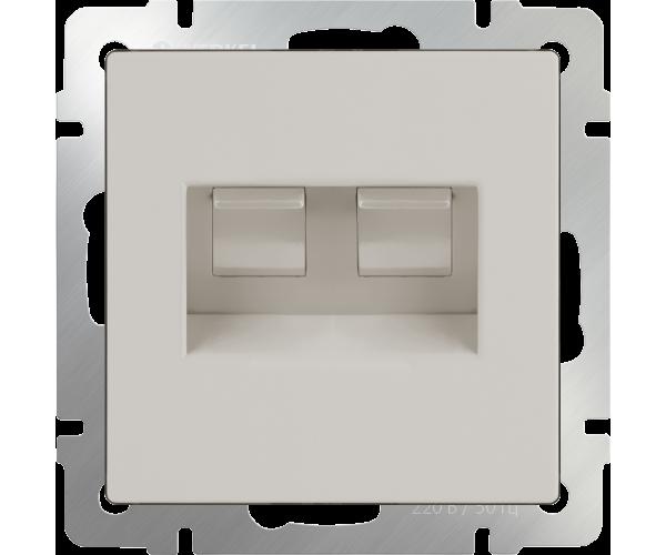 Розетка двойная Ethernet RJ-45 (слоновая кость) WL03-RJ45+RJ45-ivory