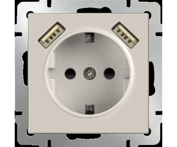 Розетка с заземлением, шторками и USB х2 (слоновая кость) WL03-SKGS-USBx2-IP20