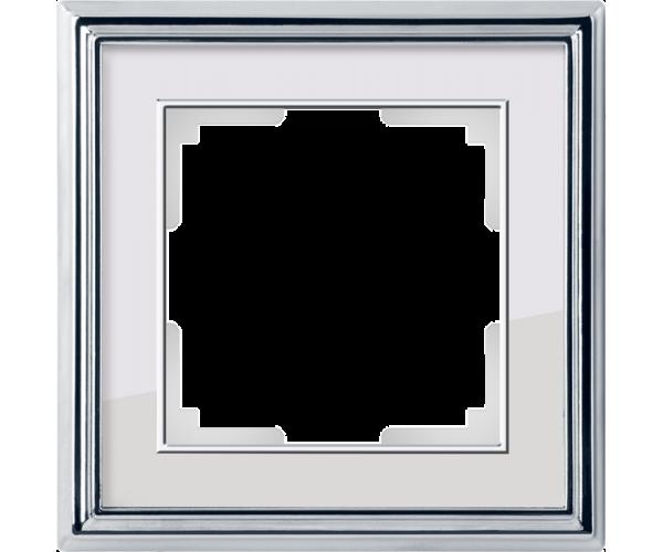 Рамка на 1 пост (хром/белый) WL17-Frame-01