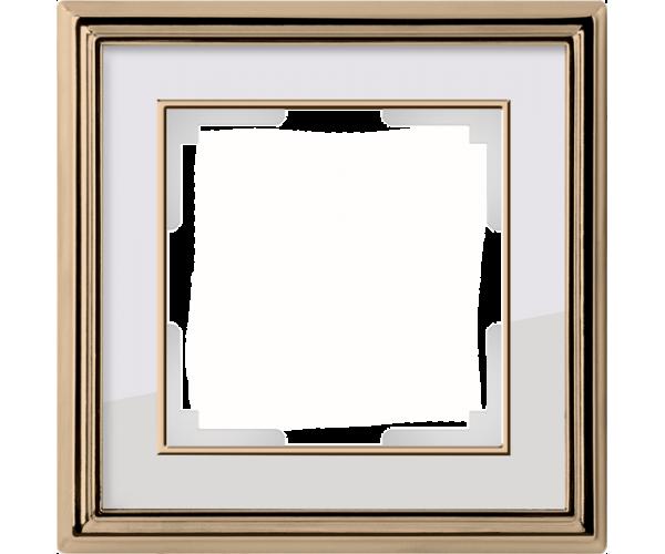 Рамка на 1 пост (золото/белый) WL17-Frame-01