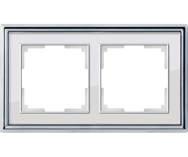 Рамка на 2 поста (хром/белый) WL17-Frame-02