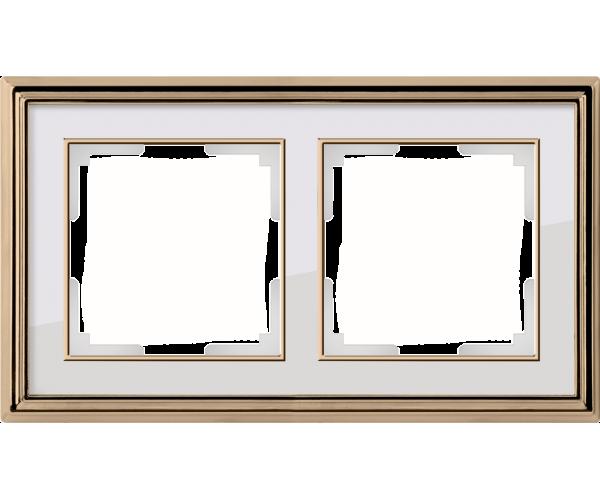 Рамка на 2 поста (золото/белый) WL17-Frame-02