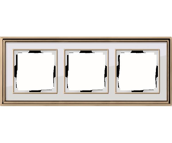 Рамка на 3 поста (золото/белый)  WL17-Frame-03