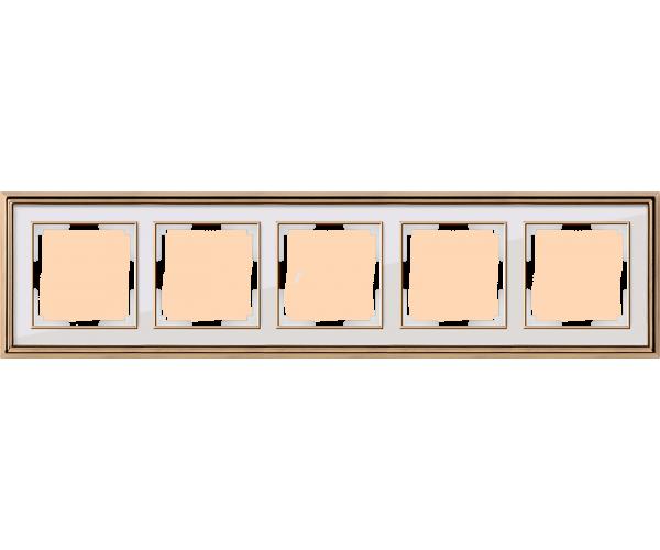 Рамка на 5 постов (золото/белый) WL17-Frame-05
