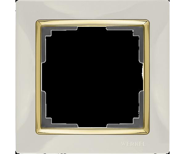 Рамка на 1 пост WL03-Frame-01-ivory-GD Слоноваякость / золото