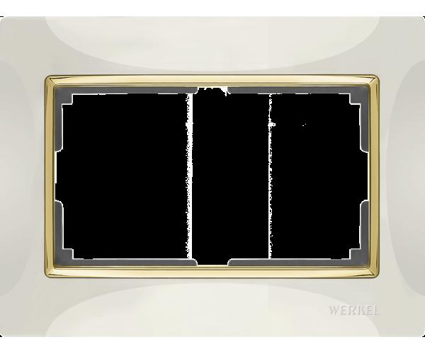 Рамка для двойной розетки WL03-Frame-01-DBL-ivory-GD Слоноваякость / золото